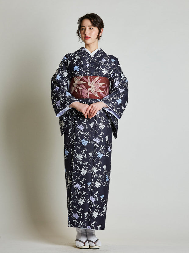 Konsho Floral Navy Blue Kimono with Burgundy Obi Belt front view