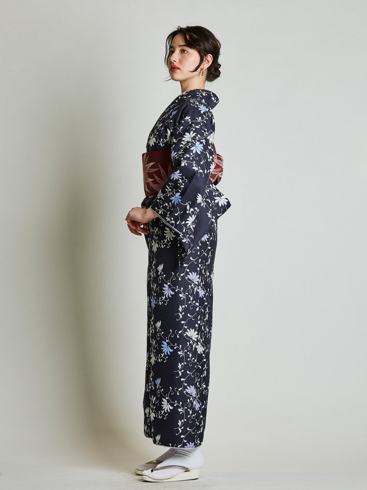 Konsho Floral Navy Blue Kimono with Burgundy Obi Belt side view