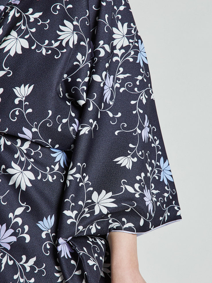 Konsho Floral Navy Blue Kimono sleeve close-up
