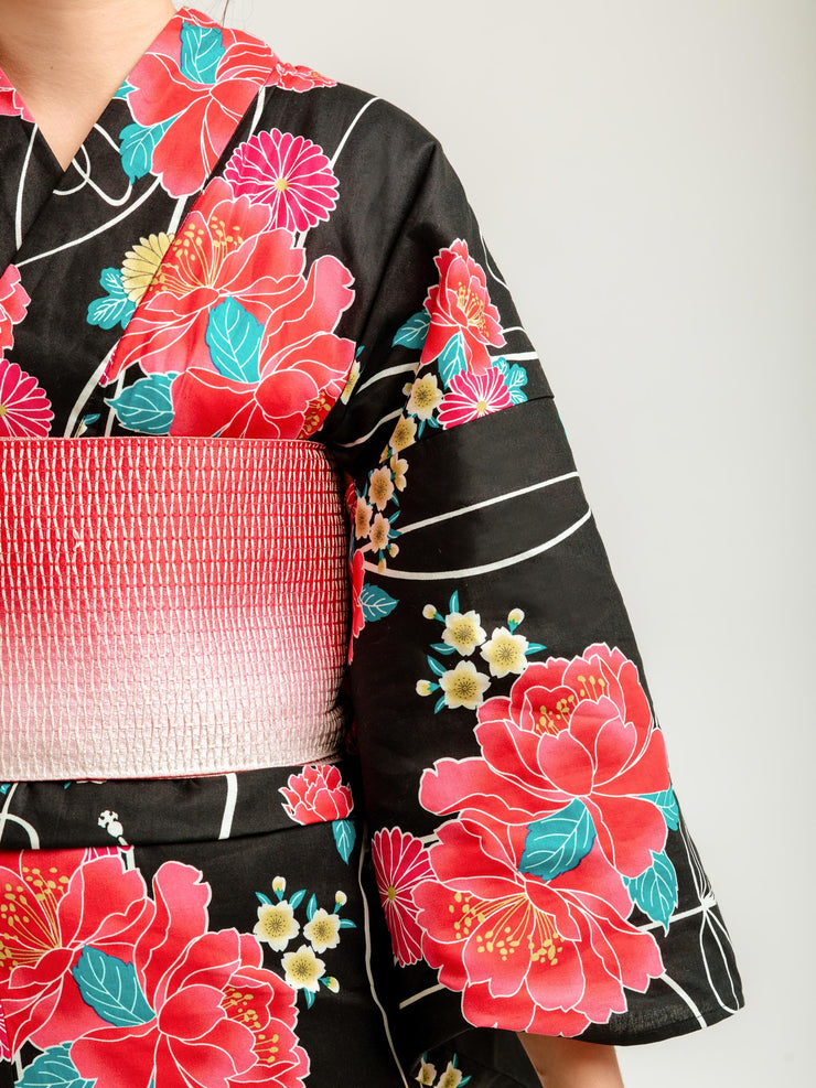 Black Shiji Floral Yukata Close-Up