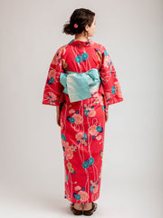 Red Shiji Floral Yukata Back