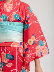 Red Shiji Floral Yukata Close-Up