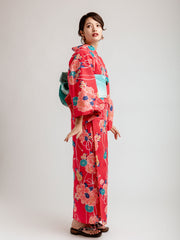 Red Shiji Floral Yukata Side