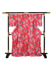 Red Shiji Floral Yukata on Stand