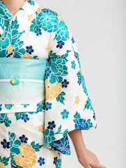 Blue Hanakago Yukata Close Up