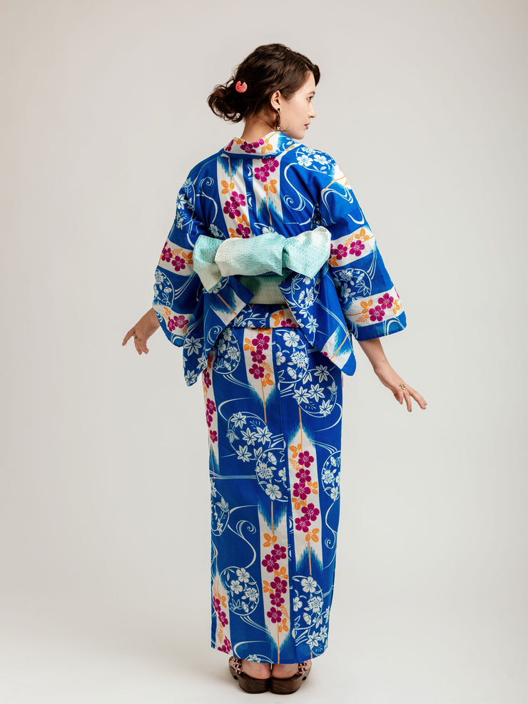 Fuyo Blue Yukata Back