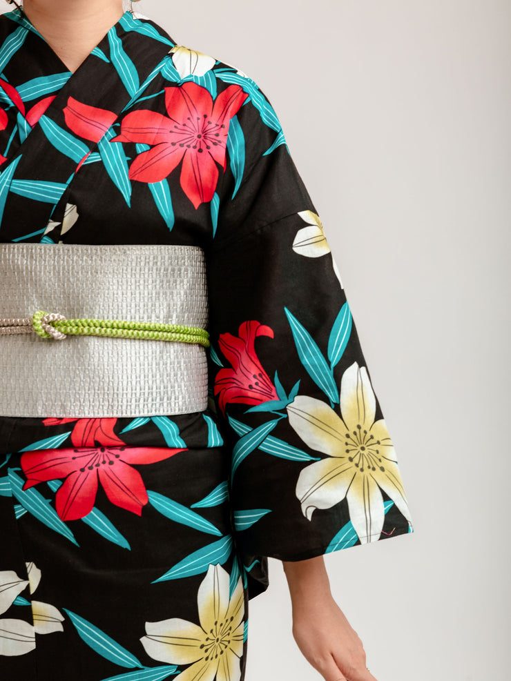 Black Lilies Yukata Close-Up