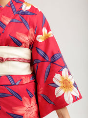 Red Lilies Yukata Close-Up