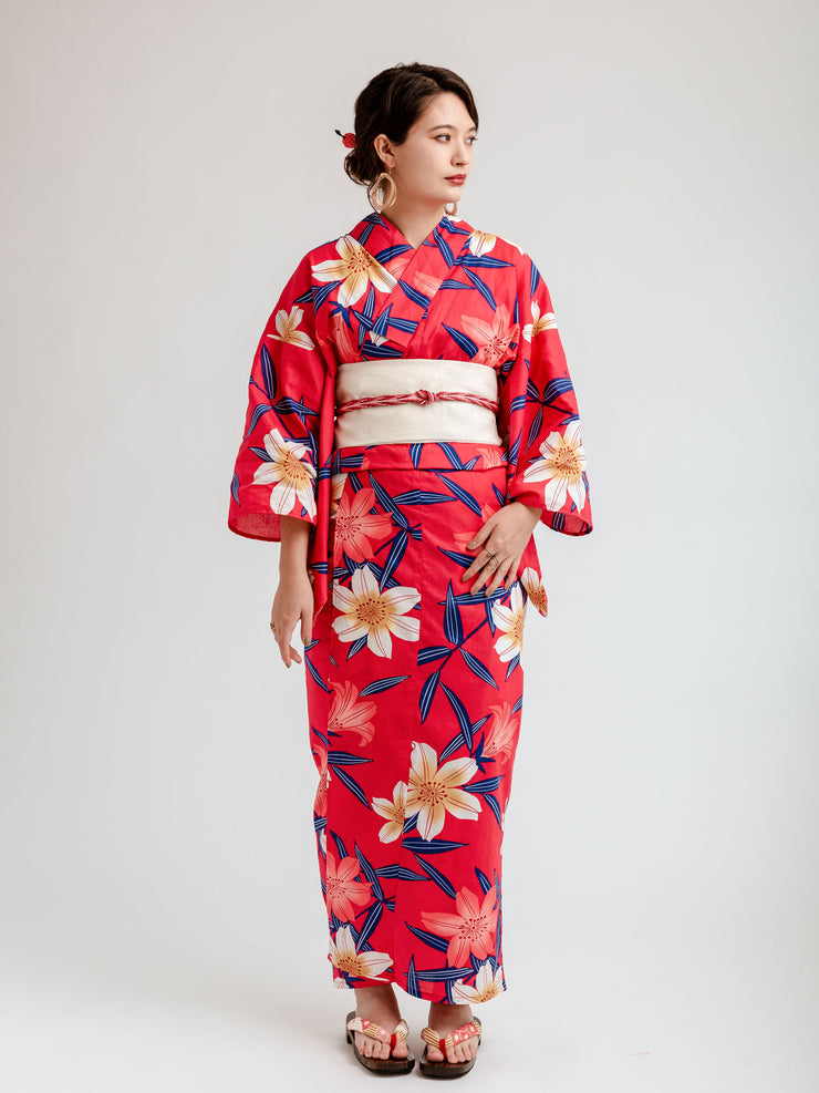 Red Lilies Yukata Front