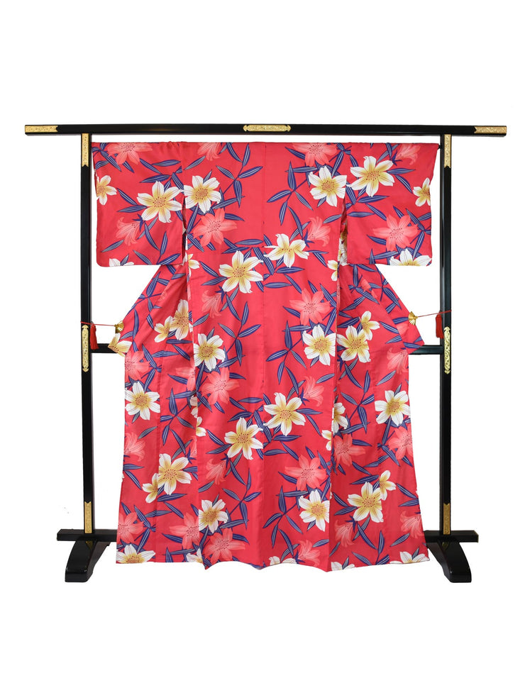 Red Lilies Yukata on Stand