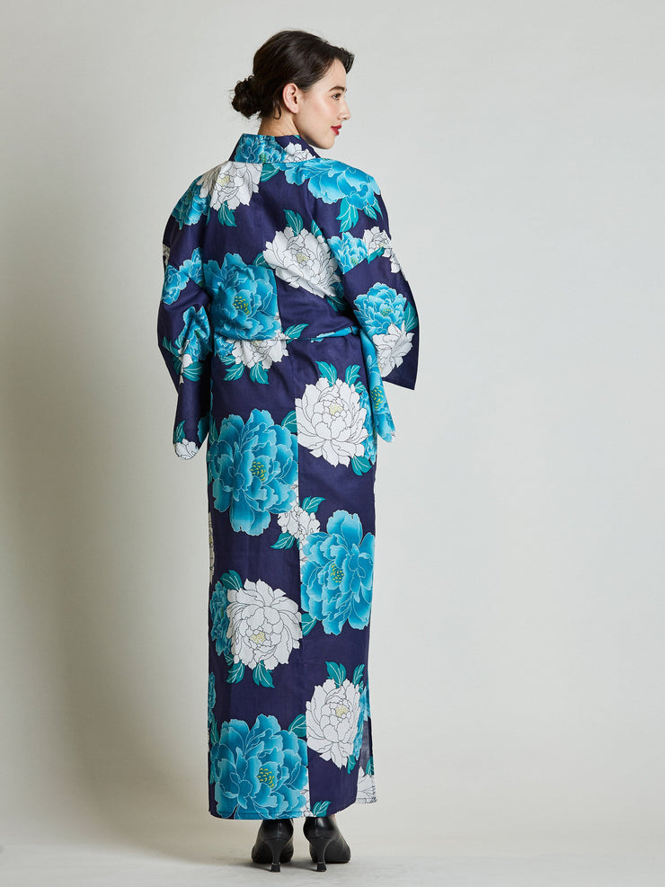 Botan Floral Blue Yukata with Rope Belt rear view