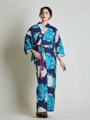 Botan Floral Blue Yukata with Rope Belt front view