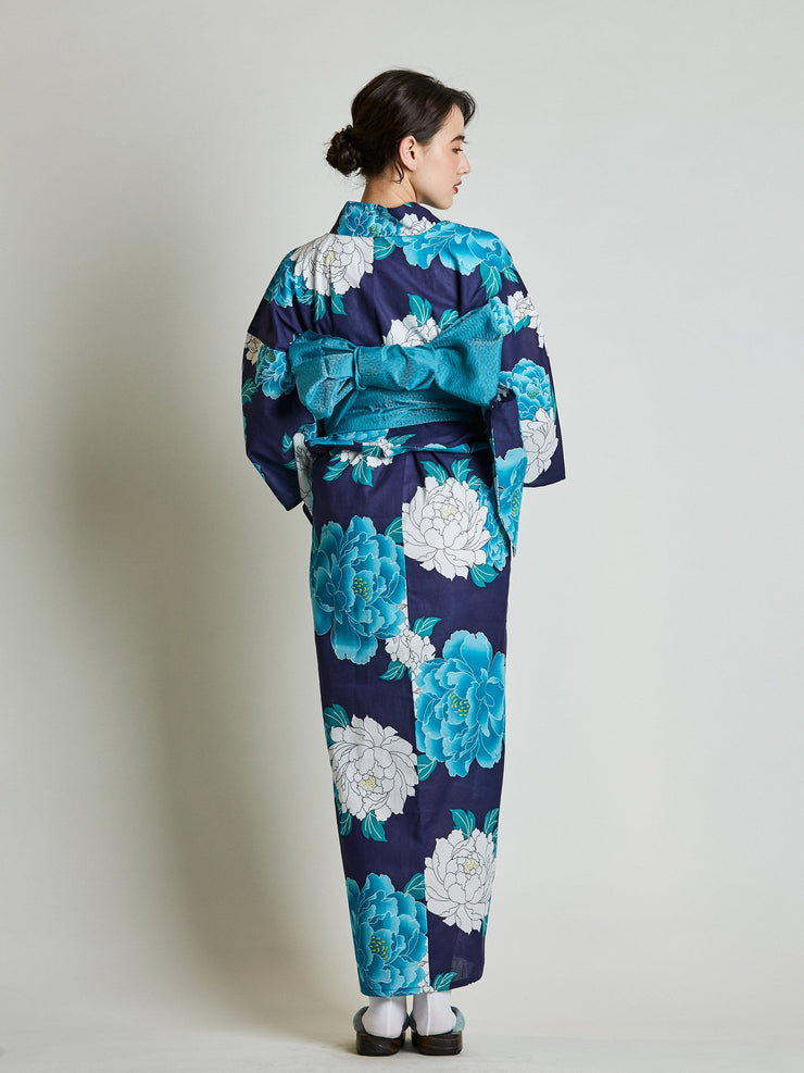 Blue Yukata with Blue Diamond Japanese Obi Belt from behind
