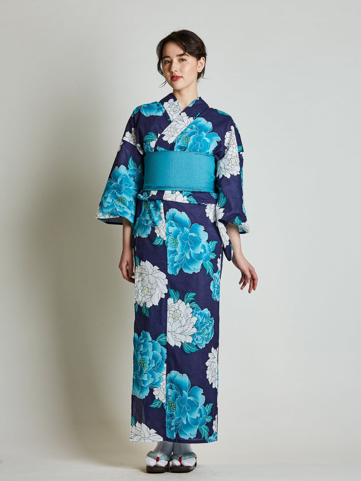 Blue Yukata with Blue Diamond Japanese Obi Belt from front