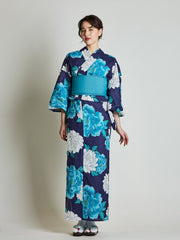 Botan Floral Blue Yukata with Blue Obi Belt front view