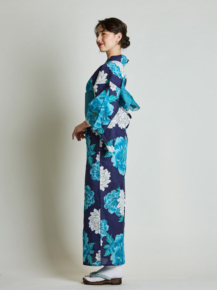 Botan Floral Blue Yukata with Blue Obi Belt side view