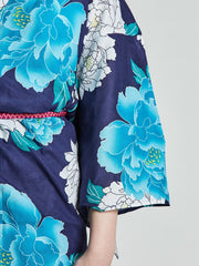 Botan Floral Blue Yukata sleeve close-up