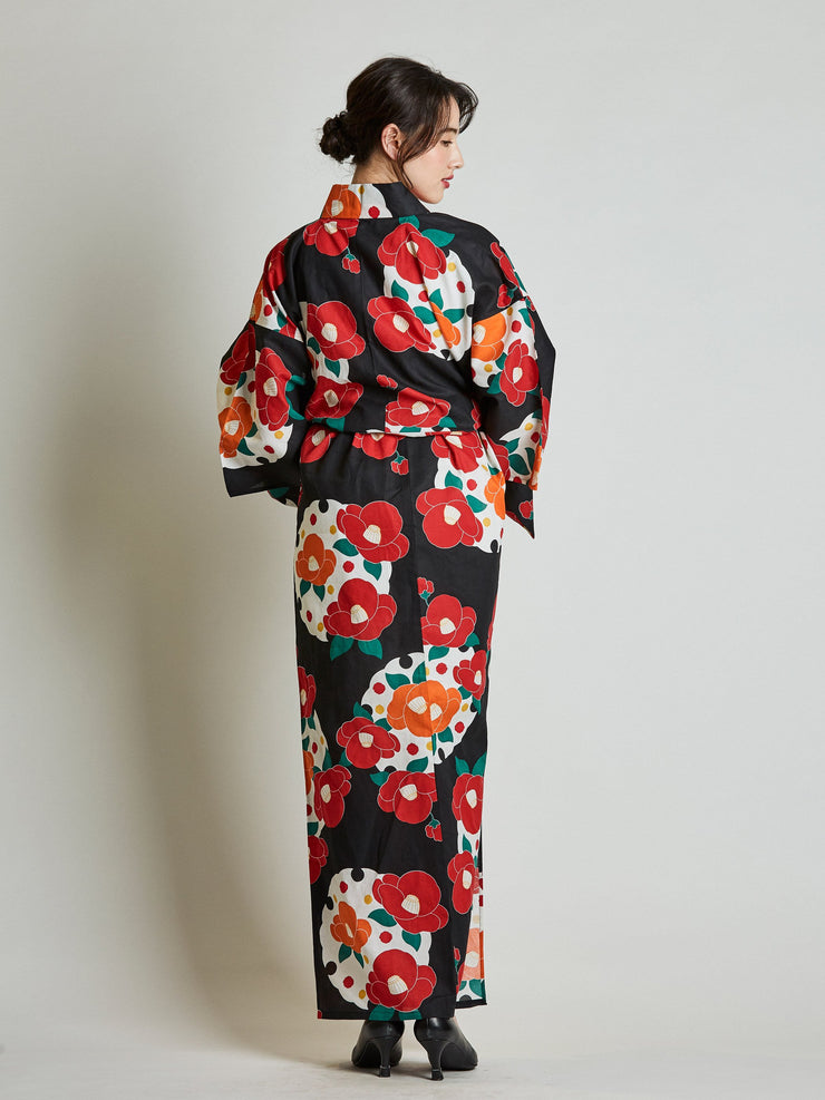 Camellia Floral Women's Yukata with Rope Belt rear view