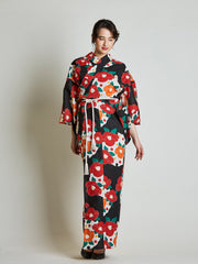 Camellia Floral Women's Yukata with Rope Belt front view