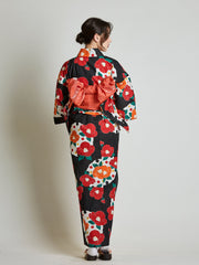 Camellia Floral Women's Yukata with Red Obi Belt rear view