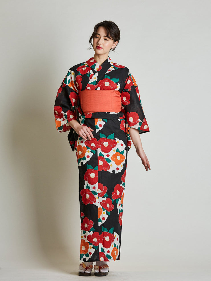 Camellia Floral Women's Yukata with Red Obi Belt front view