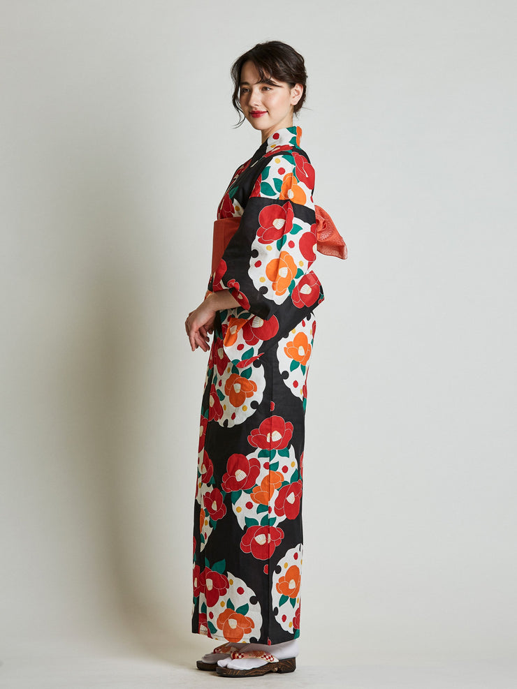 Camellia Floral Women's Yukata with Red Obi Belt side view