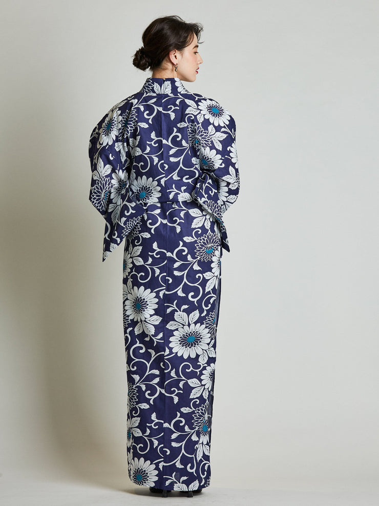 Kiku Floral Blue Yukata with Rope Belt rear view