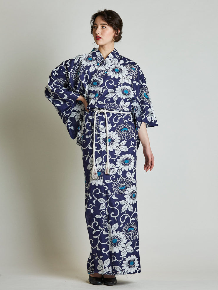 Kiku Floral Blue Yukata with Rope Belt front view