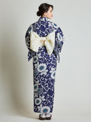 Kiku Floral Blue Yukata with White Obi Belt rear view