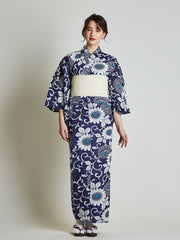 Kiku Floral Blue Yukata with White Obi Belt front view