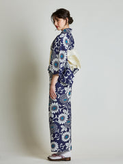 Kiku Floral Blue Yukata with White Obi Belt side view