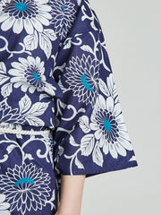 Kiku Floral Blue Yukata sleeve close-up