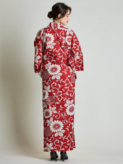 Kiku Floral Red Yukata with Rope Belt rear view