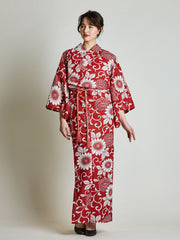Kiku Floral Red Yukata with Rope Belt front view