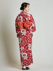 Red Yukata with Red Diamond Japanese Obi Belt from behind