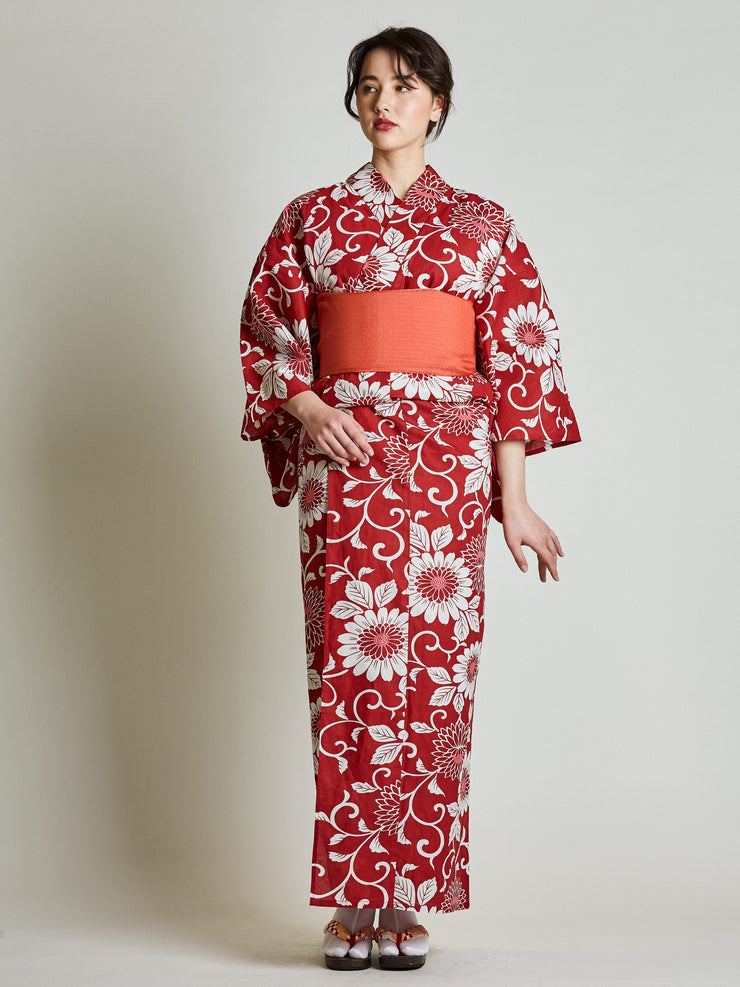 Kiku Floral Red Yukata with Red Obi Belt front view