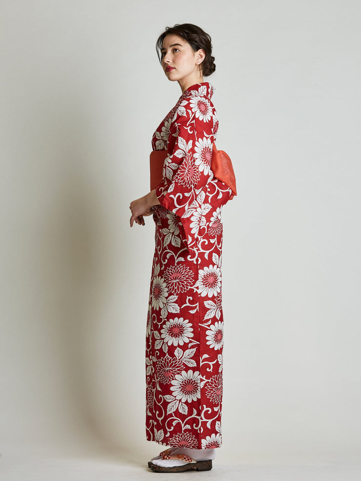 Kiku Floral Red Yukata with Red Obi Belt side view