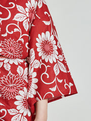 Kiku Floral Red Yukata sleeve close-up