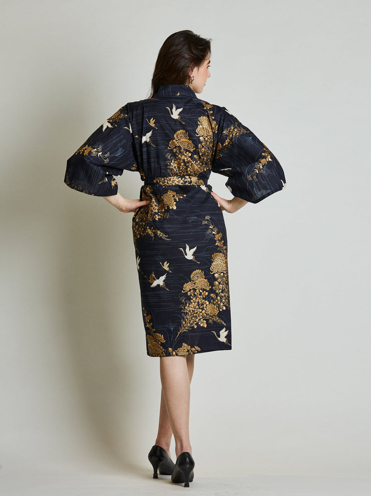 Japanese Crane Navy Blue Kimono Robe rear view