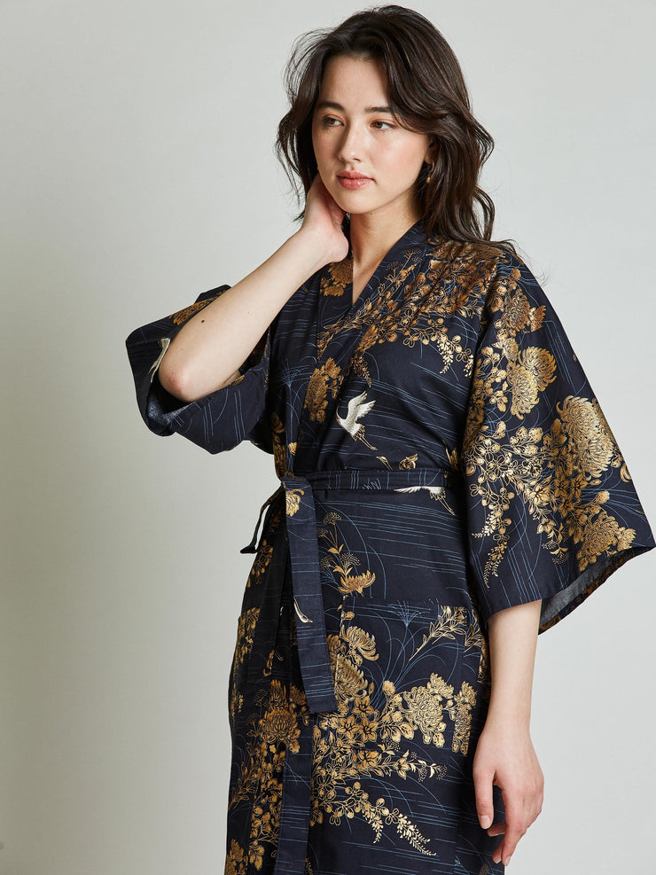 Japanese Crane Navy Blue Kimono Robe close-up