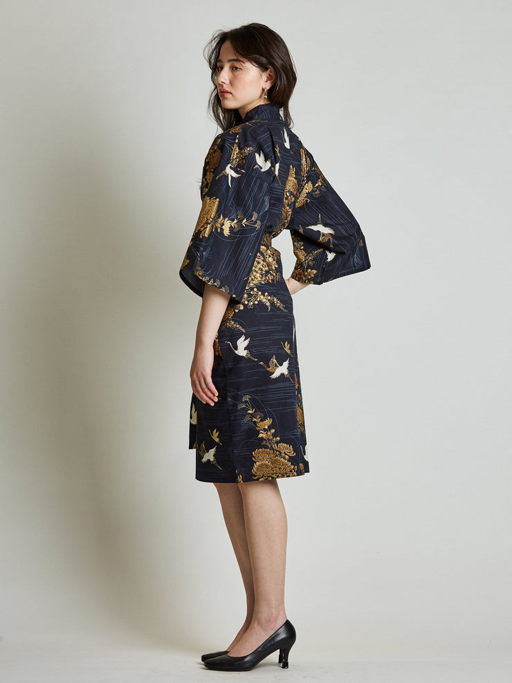 Japanese Crane Navy Blue Kimono Robe side view