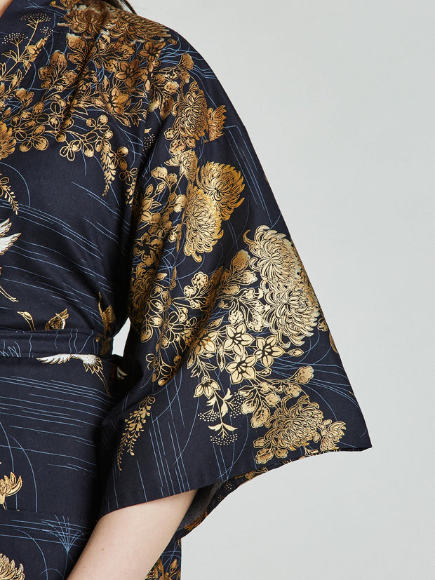 Japanese Crane Navy Blue Kimono Robe sleeve close-up