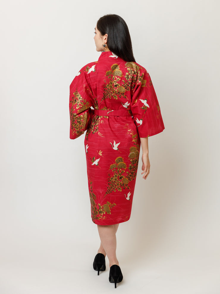 Japanese Crane Cotton Kimono Robe in Red Back