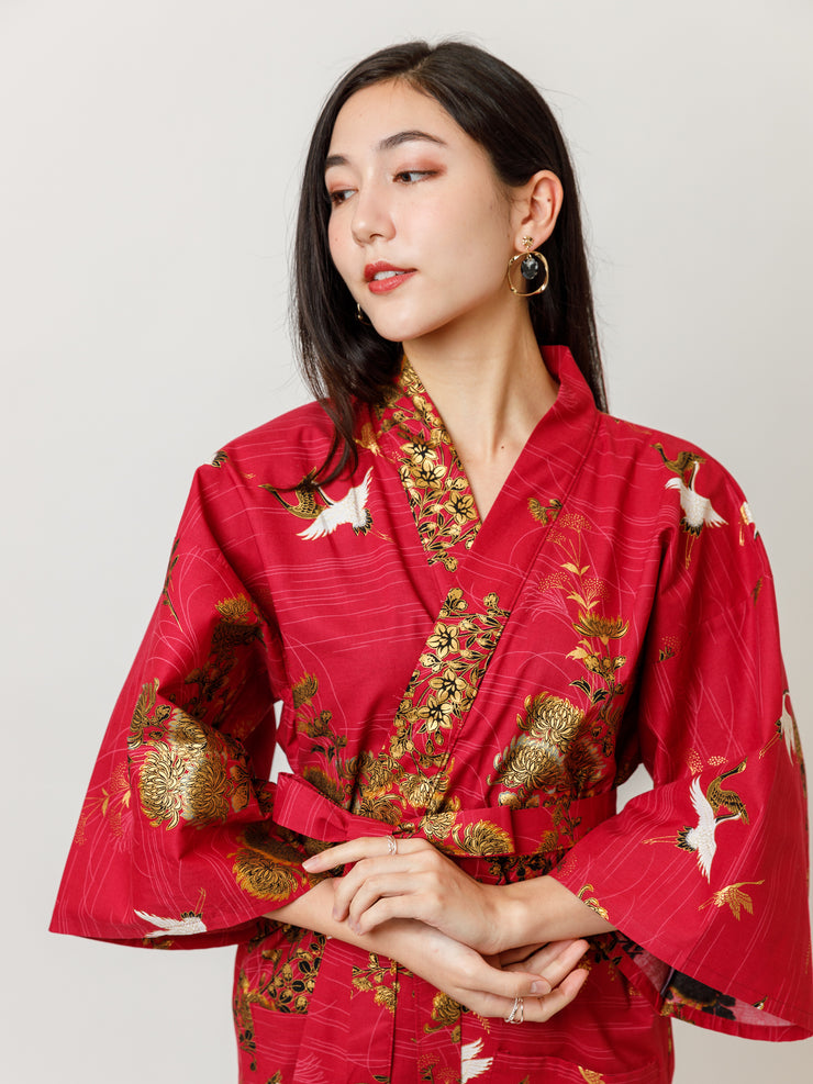 Japanese Crane Cotton Kimono Robe in Red Close Up