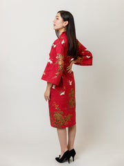 Red Crane Cotton Kimono Robe Side