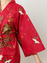 Japanese Crane Cotton Kimono Robe in Red Sleeve