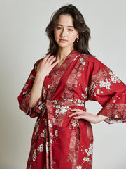 Cherry Blossom Red Kimono Robe close-up