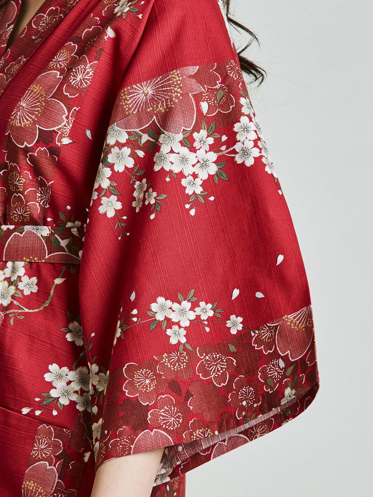 Cherry Blossom Red Kimono Robe sleeve close-up