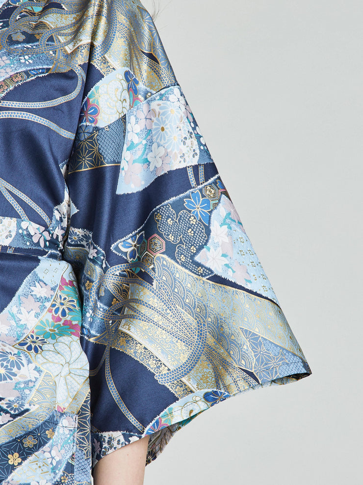 Sakura Floral Blue Kimono Robe sleeve close-up