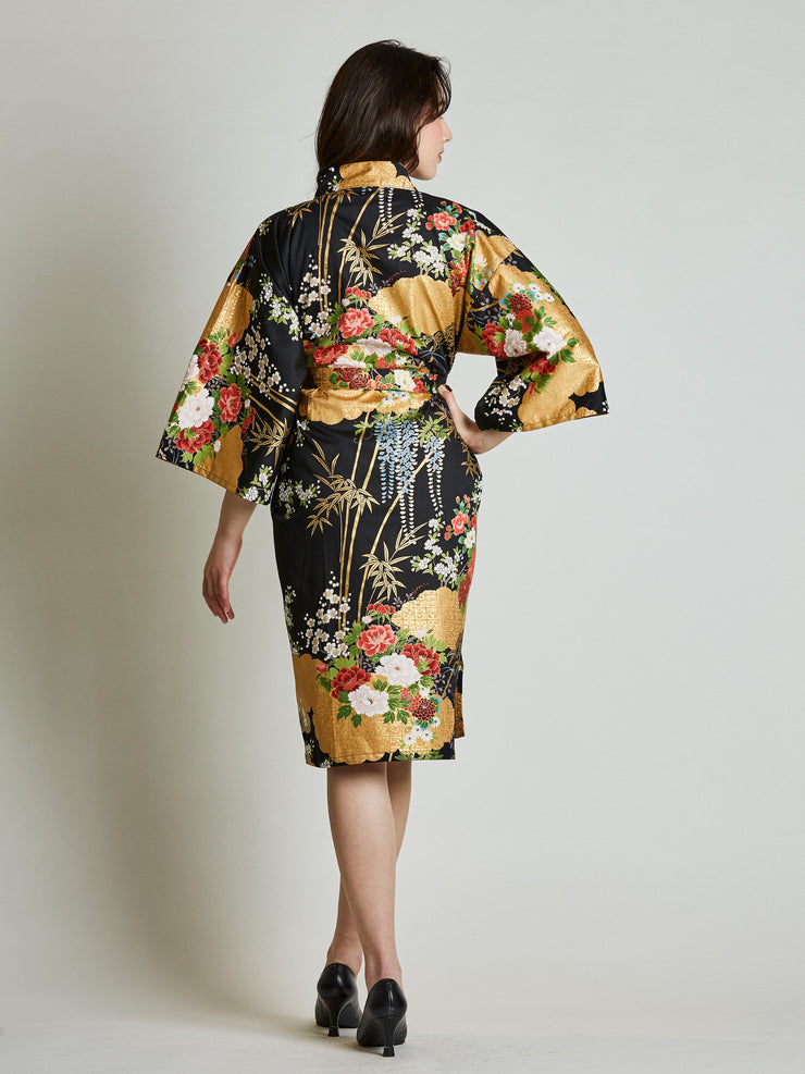 Japanese Floral Black Kimono Robe rear view
